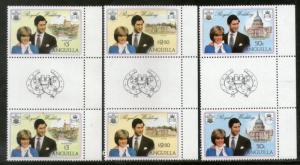 Anguilla 1981 Royal Wedding Charles & Diana Gutter Pair Sc 494-96 MNH # 3755