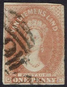 TASMANIA 1856 QV CHALON 1D NO WMK USED