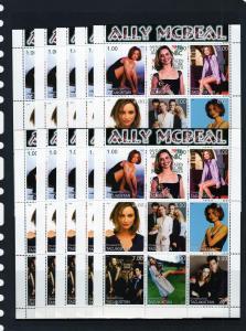 Tajikistan 1999 ALLY MCBEAL  Shlt (9) MNH x 10 of each