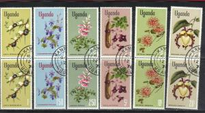 UGANDA SCOTT# 124-129 **CTO** FLOWERS 1969 VERT. PAIRS  SEE SCAN