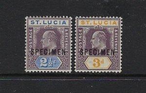 ST. LUCIA SCOTT #46-47 1902-03 EDWARD VII -SPECIMEN MINT SOME ADHERENCE