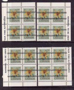 Canada-Sc#708xx-Unused NH 3c Canada Lily precancel-4 corner blocks-1977-82-
