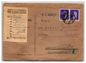 Germany 1943 Cover / Re-Directed / Zuruck / Signed Postal Slip - Z13869