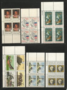 USA Stamps #1364,1369,1386,1390a,1391,1404 Plate Blocks of 4