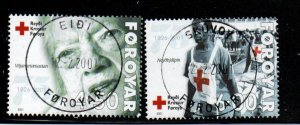 Faroe Islands Sc 393-94  2001 75th Anniversary Red cross stamp set used