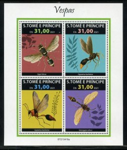 SAO TOME 2021 WASPS SHEET MINT NEVER HINGED