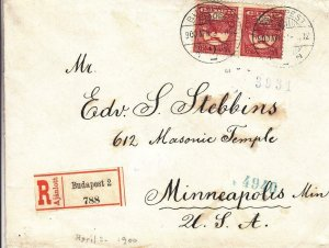 1900, Budapest, Hungary to Minneapolis, MN, Registered, See Remark (24382)