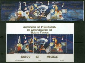 MEXICO 1388a-1389 Morelos Telecom Satellite strip & SS MNH