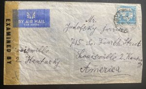 1940s Petah Tiqva Palestine Airmail Censored Cover To Louisville KY USA