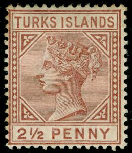 TURKS AND CAICOS ISLANDS SG56, 2½d red-brown, M MINT. Cat £45.