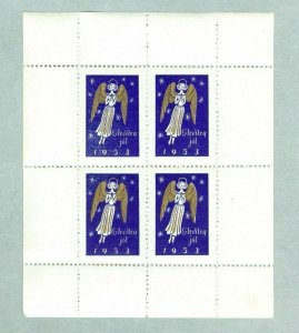 Iceland. Christmas Sheet 1953  Mnh. Akureyri Association. Angel.