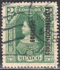 MEXICO 424, 2c GOBIERNO... REVOLUTIONARY OVPT. USED.VF. (474)