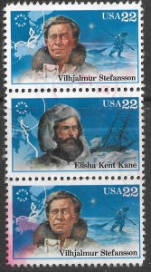 US  #2220,2222 used strip of 3. Polar Explorers