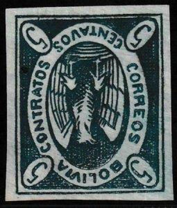 Bolivia 1867-1868 SC 1c Thick Paper Mint