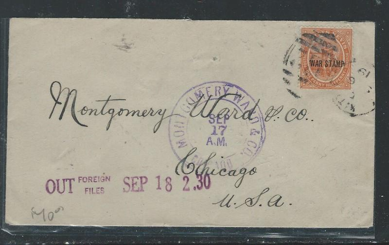 ST KITTS NEVIS (P0912B) 1 1/2D WARD STAMP ON 1930 COVER TO USA