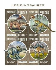 HERRICKSTAMP NEW ISSUES NIGER Dinosaurs Sheetlet