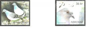 Faroe Islands Sc 520-1 2009 Pigeons stamp set mint NH