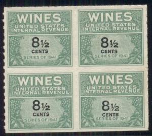 US #RE184 8½ Wines, Block of 4, unused no gum as issued, Scott $30.00+