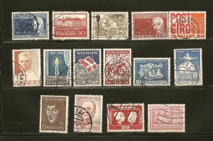 Denmark Lot of 15 Different Older Stamps Used