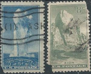 US 744 & 747 (used fillers) 5¢ & 8¢ National Parks (1934)