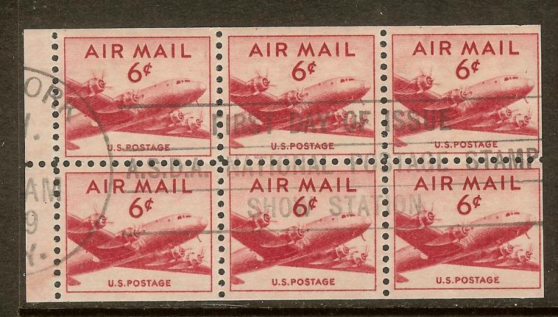 Scott #C39a, 6c DC-4 Airmail Booklet Pane, 1st Day Cncl,Used