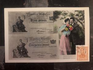 1909 Buenos Aires Argentina Stamp on Stamp Postcard Cover 10 Pesos