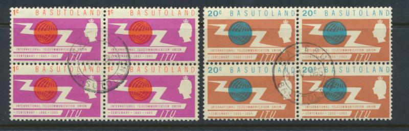 Lesotho / Basutoland  SG 98 / 99  - Used Corner Blocks of 4  - ITU Centenary