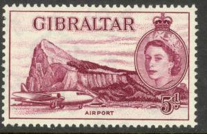GIBRALTAR 1953 QE2 5d Deep Maroon Shade SG No. 152b / Sc 139  MNH