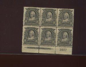 306 Martha Washington Mint  Plate Block of 6 Stamps (Stock 306-pb1)