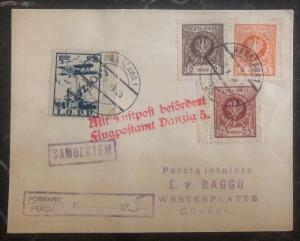 1925 Warsaw Poland Airmail Cover to Gdańsk Airmail Stamps Lotnicza