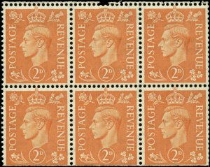 Great Britain  Scott #261b Booklet Pane of 6 Mint Never Hinged