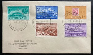 1961 Nukualofa Tonga Toga First Day Cover FDC 75th Anniversary Of Postal Service