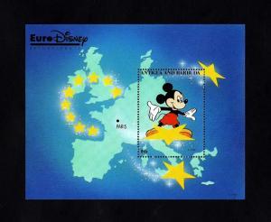 ANTIGUA - 1993 - EURO DISNEY - MICKEY - MAP - PARIS - STAR + MINT - MNH S/SHEET!
