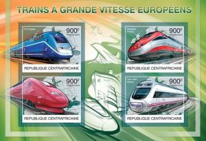 CENTRAFRICAINE 2012 SHEET SPEED TRAINS OF EUROPE