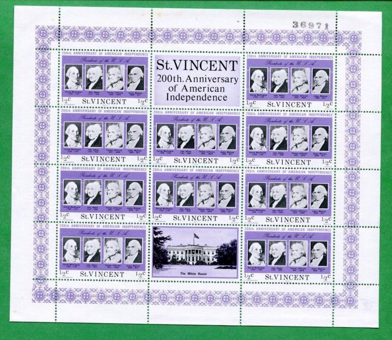 ST. VINCENT SOUVENIR SHEET # 435 MNH VF / American Independence  FOS42