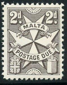 Malta 1962 2d Dark Brown Postage Due Sc# J14 NH