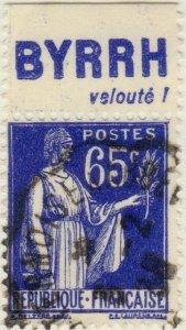 FRANCE - 1937 Pub BYRRH (velouté!) supérieure sur Yv.365b 65c Paix Obl. TB