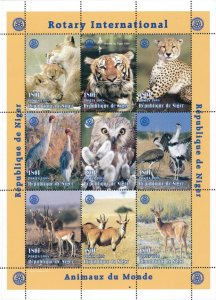 Niger 1998 Tiger Lion Deer Birds Wild Animals Rotary 9v Mint Full Sheet (L-111)