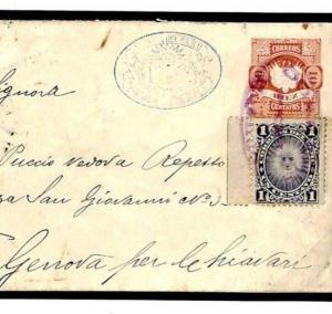 PERU Transatlantic Cover *Huanuco*Violet CDS Uprated Stationery ITALY 1893 F274a