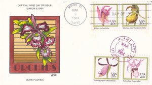 COLLINS HAND PAINTED FDC Sc# 2076-79 Orchids 1984 First Day Issue Cover