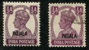 India - Patiala SC# 103 (SG# 104) King George VI, 1/2a, MH/U