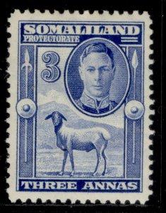 SOMALILAND PROTECTORATE GVI SG108, 3a bright blue, M MINT.