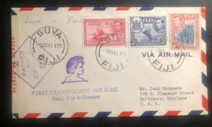1941 Suva Fiji First Flight Censored Cover FFC to Baltimore Me USA via Noumea
