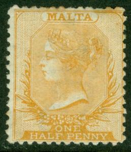 EDW1949SELL : MALTA 1865 Scott #5 Perforated 12½. Mint No Gum. Catalog $160.00.