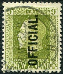 NEW ZEALAND-1925 9d Sage-Green Official Sg 0104 FINE USED V36170