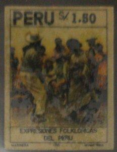 O) 1993 PERU, ERROR  REVERSE GUM, DANCER BY MONICA  ROJAS - MUSICAL INSTRUMENT -