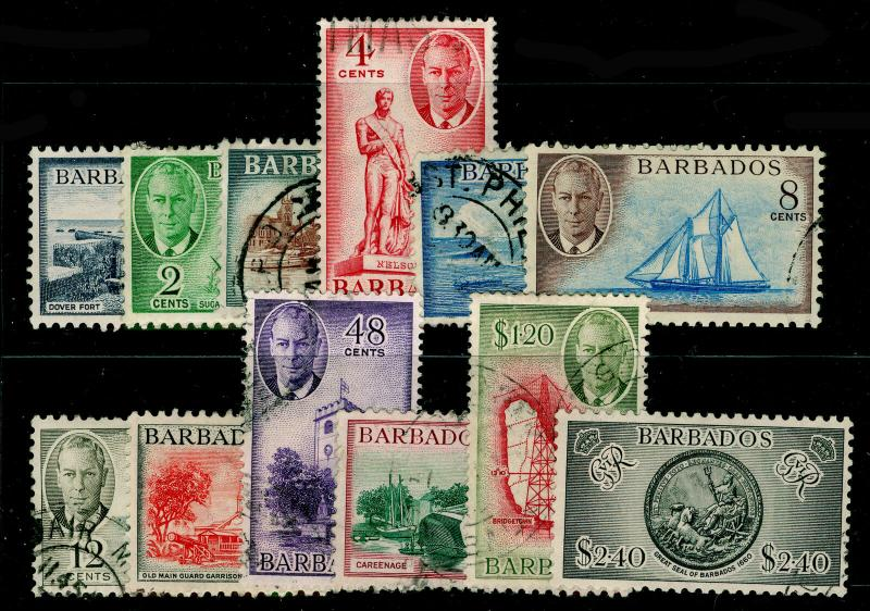 BARBADOS SG271-282, COMPLETE SET, USED. Cat £75.