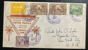 1933 Costa Rica First Voyage Cover To New York Usa  Santa Paula Grace Line