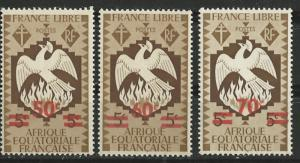 French Equatorial Africa # 158-60  Free French Phoenix  (3) Unused VF