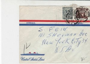 Ireland Eire 1953 Airmail to S.Fein USA Cobh Cancels Ship Pic Stamps Cover 34760